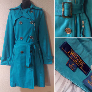 EUC Millard Fillmore turquoise trench coat S